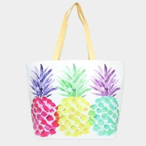 Handbags - Tropical Pineapple Red Yellow Green Shopping Bag